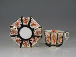 Antique Wileman Shelley Imari Square Queen Anne Tea Cup And Saucer, England C.1884