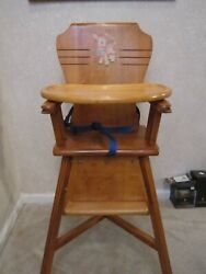 Vintage Wooden High Chair With Tray And Lamb Decal Original Owner