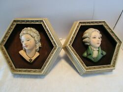 Vtg Set 2 Margi Italy Chalkware Wall Plaques Busts 3d Framed 1950and039s Signed 12t