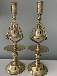 """Baldwin Polished Brass Tavern Bell Candle Holders 1 Pair 13"""" Tall"""