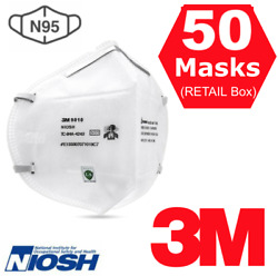 3m 9010 N95 Niosh Approved Respirator Disposable Face Mask Cover 50 Masks In Box