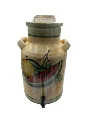 Vintage Mexican Pottery Hand Painted Pinal H. Mex Water Cooler Watermelon Crock