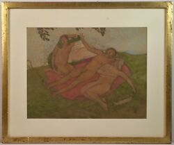 Listed Swiss Artist Alfred Heinrich Pellegrini 1881-1958 Mixed Media Painting