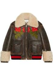 Embroidered Shearling Lined Leather Bomber Jacket It 42 Uk 10
