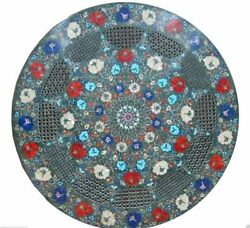 24'' Marble Dining Table Top Inlay Rare Stone Round Center Coffee Table Ar0796