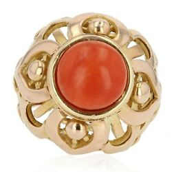 Ring Dome Coral Yellow Gold Vintage Modern Jewelry Antiques