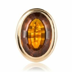 Ring Citrine Yellow Gold Vintage Jewelry Antiques