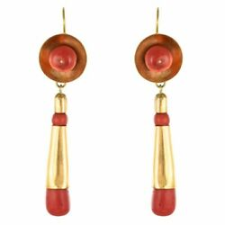 Pendant Earrings Coral Gold Yellow Gold Napoleon Iii Jewelry Antiques