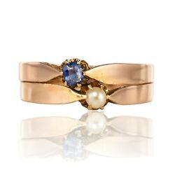 Ring Antique Rose Gold You Me Natural Pearl Sapphire Napoleon Iii Jewelry