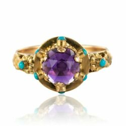 Ring Antique Amethyst Turquoise Yellow Gold Belle époque Jewelry Antiques