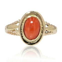Ring Antique Coral White Gold Art Deco Jewelry Antiques