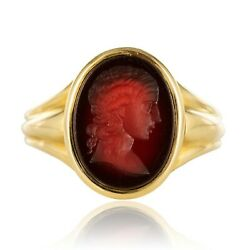 Ring Antique Man Intaille On Cornelian Yellow Gold Napoleon Iii Jewelry Antiques