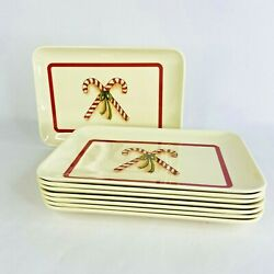 Holiday Christmas Trays Serve Plastic Platter Lot Of 8 Candy Cane 8 X 5.5