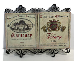 Pamela Gladding 2 French Country Wine Wall Plaques- Santenay And Volnay Communes