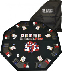 Trademark Poker Texas Traveller Table Top And 300 Chip Travel Set Blue