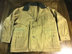 Vintage C.c. Filson Style 62 Waxed Oil Tin Cloth Canvas Hunting Jacket Size 42
