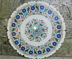 24'' Marble Dining Table Top Inlay Rare Stone Round Center Coffee Table Ar0835