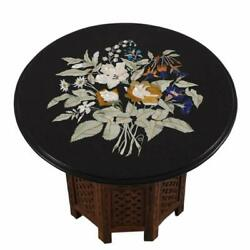 24'' Marble Dining Table Top Inlay Rare Stone Round Center Coffee Table Ar0851