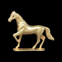 14k Gold Horse With Ruby Eyes