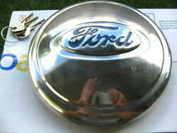 Vintage 1930andrsquos Original Ford Hurd Spare Tire Locking Stainless Hubcap W/keys