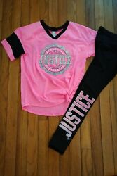 Nwt/nwot Justice Girls Outfit Top/leggings Size 7 8 10