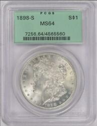 1898-s Morgan Silver Dollar Pcgs Ms 64 - Nice White Coin Ogh