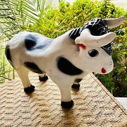 Vintage White And Black Dairy Cow Bull Still Coin Piggy Bank Collectible