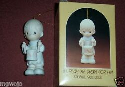 Precious Moments E-2359 Ornament I'll Play My Drum For Him 1982 Issue New