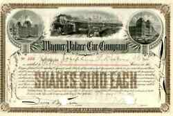 1893 Wagner Palace Car Stock Certificate Signed By Webb