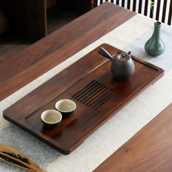 Luxury Natural Hard Bamboo Tea Tray Serving Table Water Storage Drain Plate