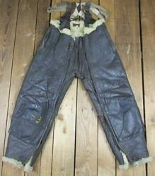 Vintage Wwii Us Navy M-446a Shearling Lined Leather Flying Pants Trousers Usn 33
