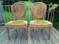 2 Antique Simon Loscertales Bona Spain French Caned Back Side Chairs Orig Cond