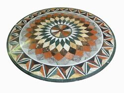 36 Marble Dining Table Top Inlay Rare Stones Round Center Coffee Table Ar0956