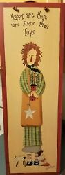 Primitive Christmas Wooden Wall Hanging Happy Are Those Who Share Their Toys