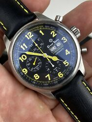 Ernst Benz Chronoscope Automatic 47mm Stainless Strap Black And Yellow Dial Rare