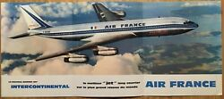 Air France Airlines B707 Brochure 1959 Poster Route Map