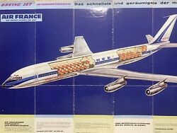 Air France Airlines B707 1961 Promo Brochure Cutaway Route Map