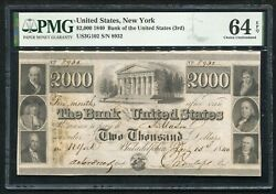 1840 2000 The Bank Of The United States 3rd New York Obsolete Pmg Unc-64epq