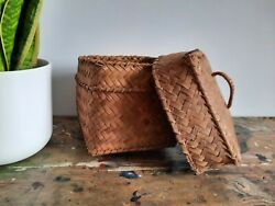 Asian Traditional Square Bamboo Woven Basket With Lid Trinkets Old Vintage Rare