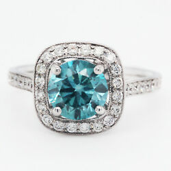 Fancy Blue Color And Clarity Enhanced Diamond Engagement Ring 2.39 Tcw 18kw Gold