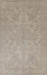 Muted Semi-antique Floral Traditional Area Rug Evenly Low Pile Handmade 10x13 Ft