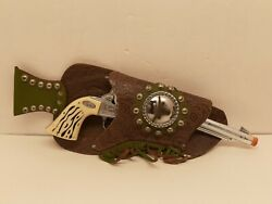 1950's-1960's Vintage Hubley Toy Cap Gun With Rhinestone Leather Holster