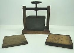 Antique Mechanical Wood And Brass Butter Or Cheese Press Mold Primitive Farmhouse