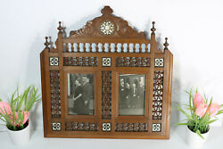 Antique Wood Carved Picture Photo Frame Mother Pearl Inlay