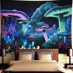 Trippy Tapestry Bedroom Aesthetic Psychedelic Mushroom Fantasy Wall Hanging New
