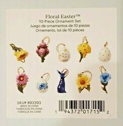 Lenox Floral Easter 10 Pc Ornaments Set Bunny Egg Flowers New No Tree