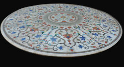 36 Marble Dining Table Top Inlay Rare Stones Round Center Coffee Table Ar1082