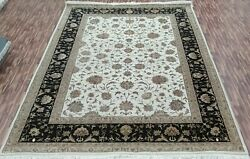 5and039 1.8x2.4m Tapis Moderne Luxe Main Nouandeacute Wool-silk Ivory-black Zone Tapis