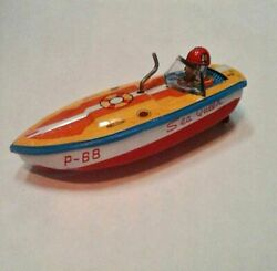 Rare Vintage Boat Toys - Sea Queen Tin Wind Up Friction Boat 1950's - Japan