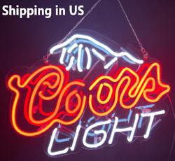 17coors Light Neon Signs Beer Cave Real Glass Handmade Sign Shipping From Usa
